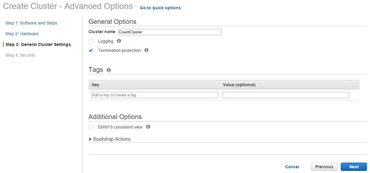 AWS EMR General Settings