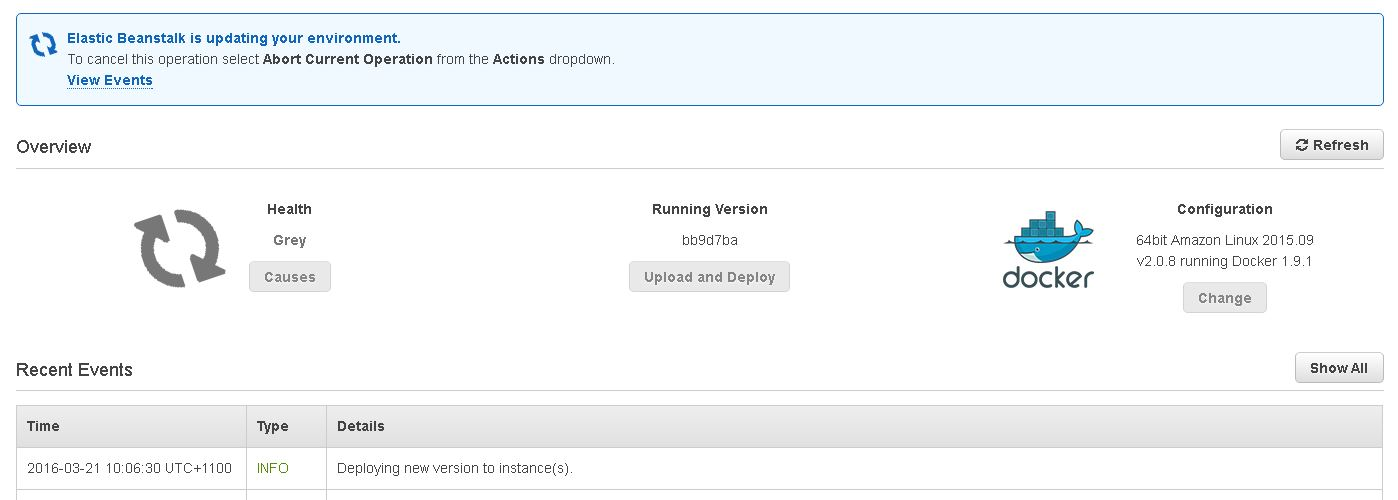 AWS Console EBS Docker App version update from TeamCity