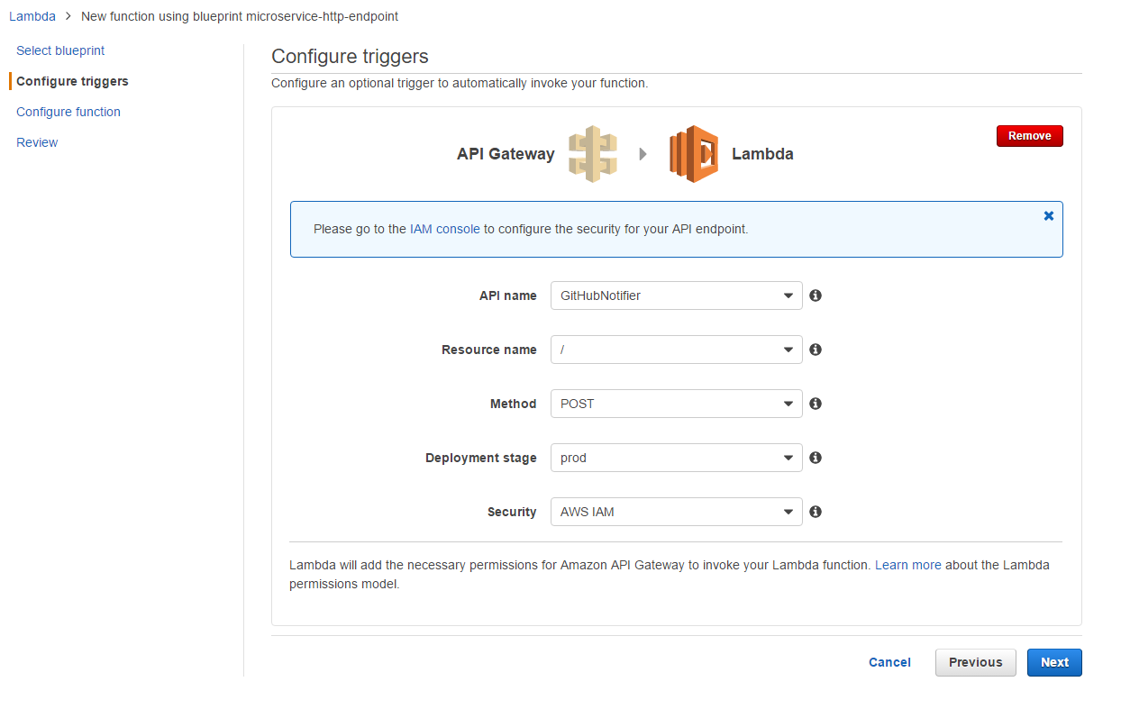 configure lambda trigger to api gateway