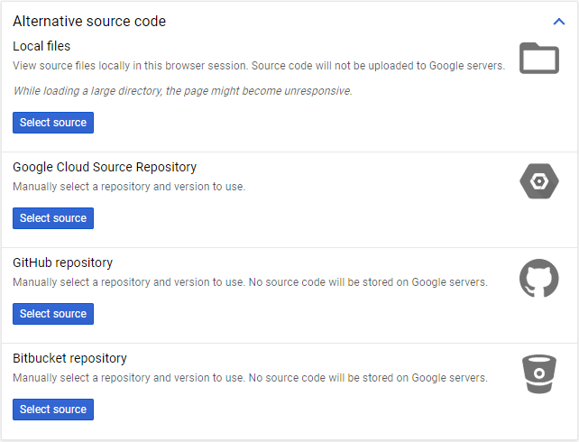 GCP cloud debugger source file options