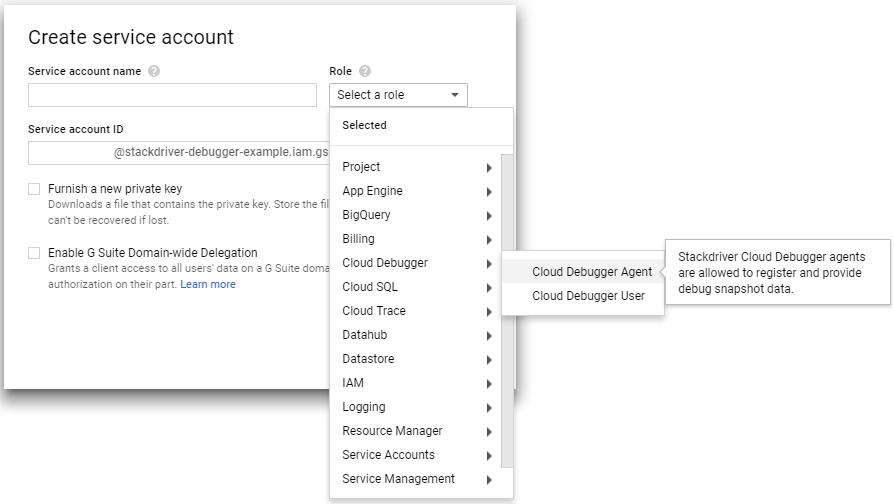 Cloud Debugger Service Account